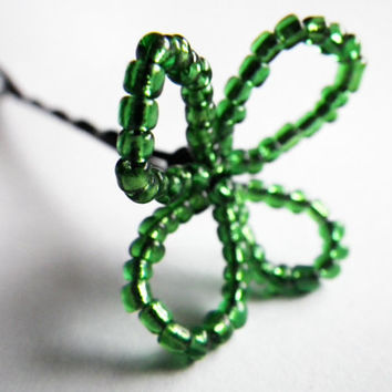Lucky Four (4) Leaf Clover- Shamrock- Luck- St. Patrick's Day- Boston- Beaded Bobby Pin- Costume- Hair Accessories