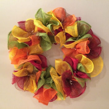 "Fall Wreath Deco Paper Mesh Burlap 24"" Thanksgiving Red Green Yellow Orange Brown Bright"