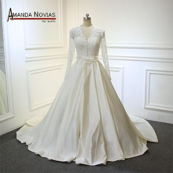 2018 robe de soiree Wedding Dress Satin Lace Wedding Gown