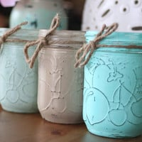 Set of 3 Painted Mason Jars, Shabby Chic Decorative Jars, Wedding Centerpieces, Rustic Decor, Farmhouse, Silver, Gold, Wedding Favors, gifts