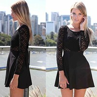 Amazon.com: OURS Womens Lace Bow Backless Love Heart Party Short Dress black