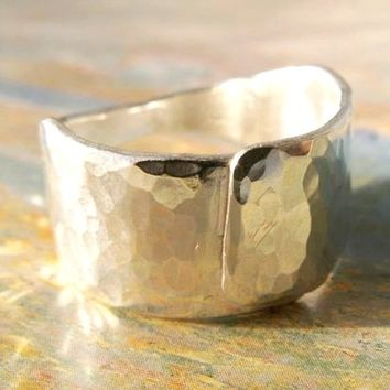 Wedding Band, Hammered Metalwork Ring for Men or Women