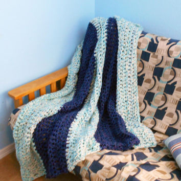 "Handmade Crochet Afghan, Chunky Heavy Blanket, Blue & Purple Striped, 60x72"", Home Decor, Living Room Accents"