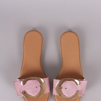 Qupid Suede Oversized Buckle Slide Sandal