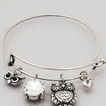 Womens Jewelry, OWL Square Jewel Hook Bangle Bracelets Color : Burnished Silver-clear Size : Diameter:2.25inch, Crystal Drop