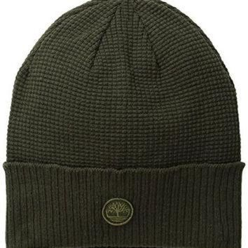 ICIK8X2 Timberland Men's Waffle Knit Watch Cap with Ribbed Cuff, Forest Night, One Size