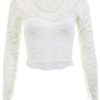 Long Sleeve Scallop Lace Crop