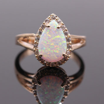 Luxury Waterdrop Engagement Party Fire Opal Ring Champagne Gold Plated AAA Cubic Zircon Fashion Jewelry 5colors