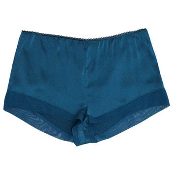 Tulle Paneled Shorts in Teal Leaf
