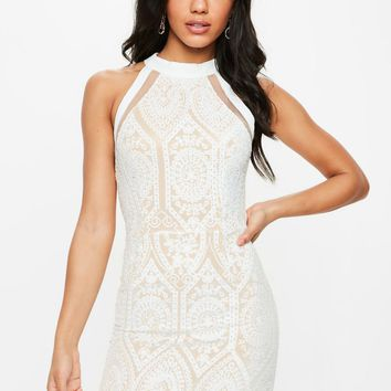 Missguided - White Racer Neck Embroidered Lace Mini Dress