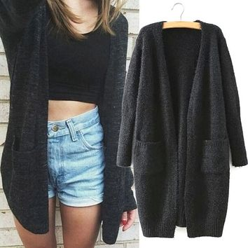 Women Long Sleeve Knitted Sweater Jumper Knitwear Casual Cardigan Outwear Coat