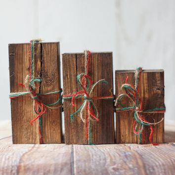 Set of 3, Wooden Christmas Presents