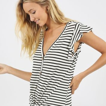 Black Striped Flutter Sleeve Nursing Friendly Top