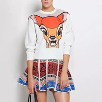White Printed Cutout Mesh Sweater