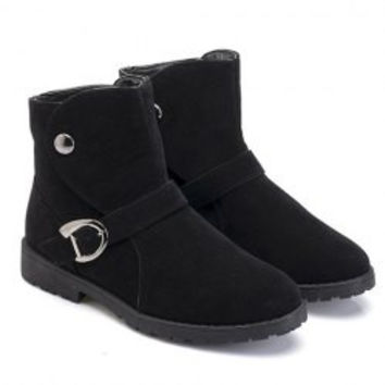 Fashion Men's Suede Boots With Rivet and Buckle Design