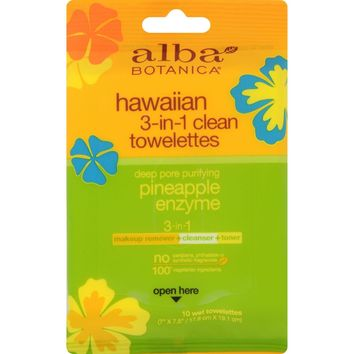 Alba Botanicaå¨ Hawaiian 3-in-1 Clean Towelettes Pineapple Enzyme - 10 Towelettes
