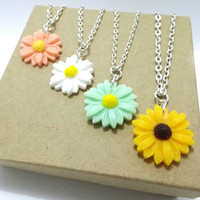 SALE Daisy Necklace, Sunflower Necklace, Pink Daisy Necklace, Blue Daisy Necklace, Green Daisy Necklace, Purple Daisy Necklace, Peach Daisy