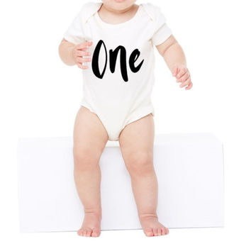 One birthday Onesuit. One onsie. First birthday Onesuit. First birthday outfit. 1st Birthday Onesuit. Baby birthday Onesuit. One year old Onesuit