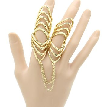 Layered Armour Knuckle Chain Two Finger Ring