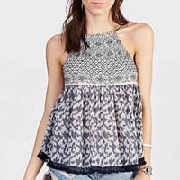 Ecote Embroidered Pinafore Tank Top- Navy
