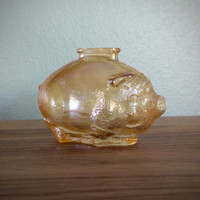 1950s antique pink glass piggy bank, carnival glass pig bank, iridescent pink glass, babys room