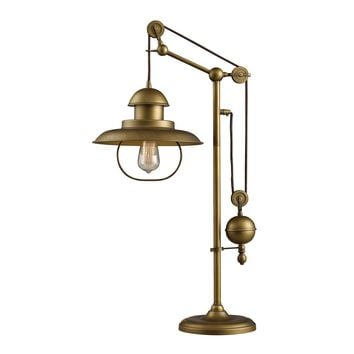 D2252 Farmhouse Table Lamp In Antique Brass With Matching Metal Shade