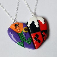 The Joker and Harley Quinn Friendship Necklaces, Keyrings, or Magnets