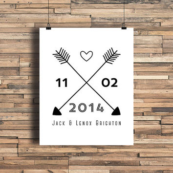 Cross Arrows With Names and Date Custom Art Print- Love- Minimalist Art- Home Office Decor - Wedding decor - Wedding Gift - Anniversary Gift