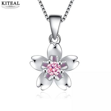 KITEAL 2018 Lovely   Maiden necklaces & pendants Japan Korea Cherry Blossom pendant fashion style collier wedding