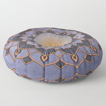 Orange Lotus Flower Mandala On A Textured Blue Background Floor Pillow by inspiredimages
