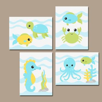 BOY Nautical Bathroom Wall Art, Ocean Sea Animals, CANVAS or Prints, Baby Boy Nautical Nursery Decor, Fish Turtle Crab Blue Green, Set of 4