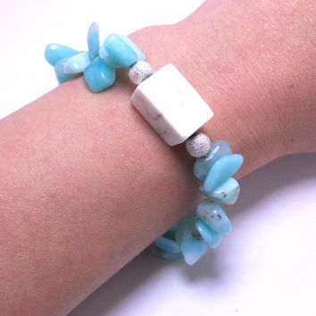 Amazonite, white buffalo turquoise, and silver toggle clasp bracelet