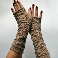 Long Lace Knit Fingerless Gloves - Beige Lace Fingerless Gloves - Fall Gloves - Feminine fingerless - Gift nO 99.