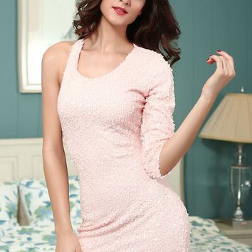 Chicloth Pink Sequined Single 3/4 Sleeve Dress