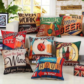 45x45cm Retro Vintage Beer Printed Cushion Cover Coffee Shop Wine Party Sofa Chair Decorative Cotton Linen Pillow Case