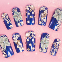 Blue Ice with Acrylic flowers 3D false fake press-on nail art - Japanese 3D Nail Art, Press On Nails, False Nails