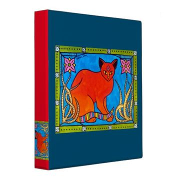 Indian Cat With Lilies Colorful Cat Design Binder