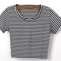 Women's Sexy Scoop Neck Cropped Short Sleeves Fitted Stretchy T Shirts (Black Striped)