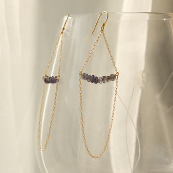 Long iolite water sapphire gem earrings Dark blue rondelles 14k gold fill hanging chains delicate dangly Sparkly gemstone feminine Navy