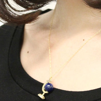 Gold Star and Globe Drop Necklace