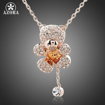 AZORA Cute Girl Rose Gold Plated Rhinestones and Heart Shape Zircon Bear Jewelry Necklace TN0093