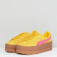 Puma X Fenty Suede Creepers In Yellow & Pink at asos.com