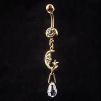 Gold Belly Button ring with Moon charm and hanging crystal, 6 colors, biker Jewelry, goth