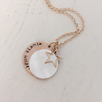 Deployment Necklace, Long Distance Relationship, Military Wife, Air Force, Marine, Navy, Army, Coast Guard, under the same sky moon