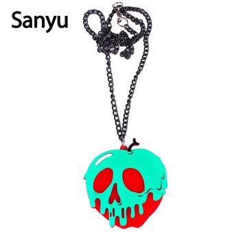 Halloween Creative Skull Acrylic Pendant Necklace Rotten Apple Cool Punk Fashion Acrylic Necklace Unisex Exaggerated Necklace