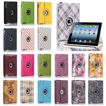 Rotating PU Leather Magnetic Case Smart Cover Stand For iPad 4 3 2 & iPad Mini