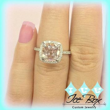 Morganite Engagement Ring  2.5ct 8mm Cushion Cut in a 14k White Gold Diamond Halo Setting