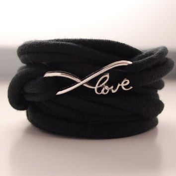 INFINITY LOVE charm Wrap Wrist Cuff BLACK Endless Love Stretch Wrist Bracelet Fashion accessory Women Teens Wrist Tattoo Cover