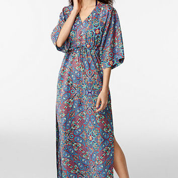 Women's Cotton Caftan Cover-up - Chelsea Paisley from Lands' End