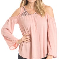 Shimmer Embroidered Cold Shoulder Top